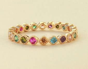 Multi Color CZ Ring, Colored CZ Ring, Colorful CZ Ring, Gold Ring, Stone Ring