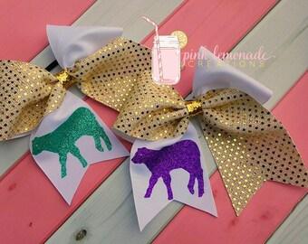 Calf / Cow FFA / 4H Livestock Glitter Cheer hair Bow