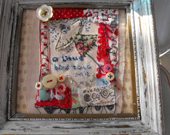 A little bird told me, embroidered picture