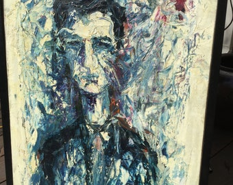 Vintage impressionist self portrait oil by George Hart