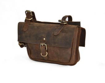 Double Leather Bicycle Pannier Bag for Push Bikes