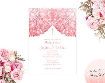 baptism invitation, baby dedication invitation, christening invite, dedication invite, first communion printable invite, religious invite
