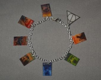 Harry Potter Book Charm Bracelet - Deathly Hallows, Harry Potter Series, Order of the Phoenix, Sorcerer's Stone