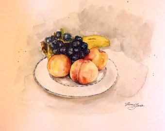 """Original Water color Painting, Peaches and Grapes, 8'x10"""", 1701252"""