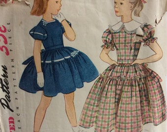 Simplicity 3786 girls dress size 7 vintage 1950's sewing pattern