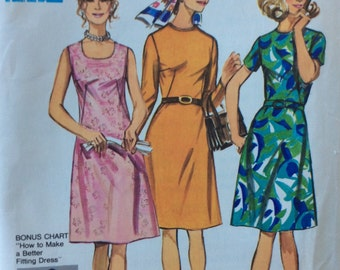 Simplicity 9466 vintage 1970's misses A-line dress sewing pattern size 16 1/2 size 16.5 bust 39  half size