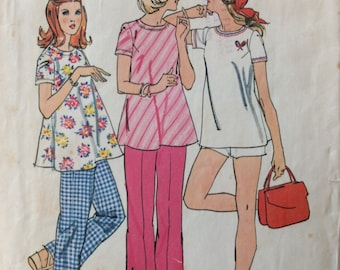 Simplicity 6361 misses maternity top & pants or shorts size 10 bust 32 1/2 or size 16 bust 38 vintage 1970's sewing pattern