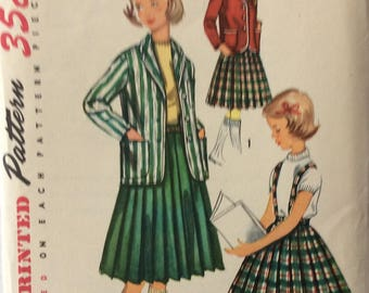 Simplicity 1740 girls blazer jacket and pleated skirt size 8 vintage 1950's sewing pattern  Uncut