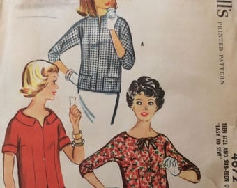 McCall's 4672 junior misses blouse size 14 bust 34 vintage 1950's sewing pattern