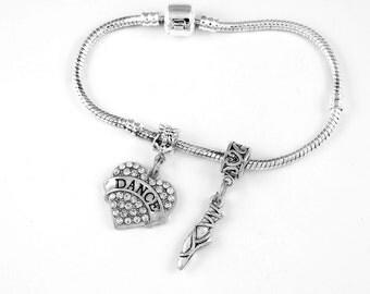 Dance Ballet Shoes Bracelet Set gift Dance Ballerina Dancing Jewelry Jazz Bracelet European style bracelet Best Jewelry Gift