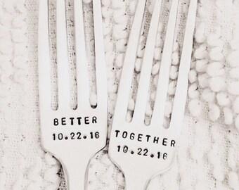 Vintage Wedding Forks - Better Together, hand stamped, cake forks, personalized and dated