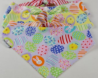 Funny Bunnies Decorated Easter Eggs Dog Bandana    Lavender Personalized Easter Pet Scarf    Personalized Puppy Gift by Three Spoiled Dogs