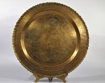 mid century chinese brass tray finely hammered and chiseled engraved with scenes of wild