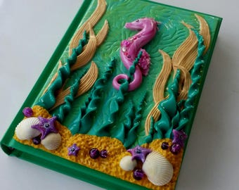 seahorse journal, sealife journal, seahorse notebook, polymer clay journal, A6 journal, ocean journal, seahorse gift,