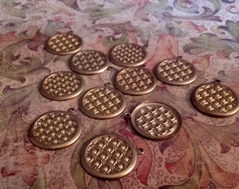 Vintage 22mm raw brass round dot charms