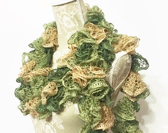 Green Crochet Scarf, Crochet Ruffle Scarf, Crochet Scarf, Ruffle Scarf, Fashion Scarf, Olive Scarf, Trendy Accessories, Ready to Ship, Gift