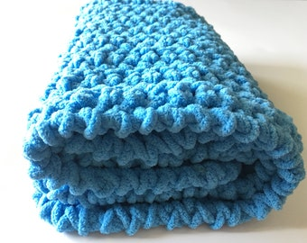 Blue Baby Blanket, Crochet Baby Blanket, Photo Prop, Bernat Baby Blanket, Chenille Blanket, Baby Boy Blanket, Ready to ship, Free Shipping