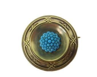 Fine Victorian c.1880 18ct gold Turquoise Target brooch