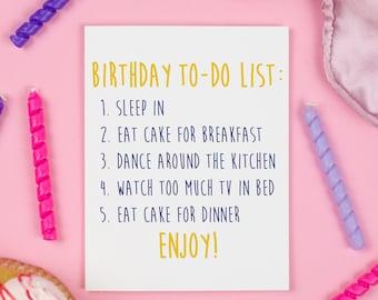 Birthday To Do List Card