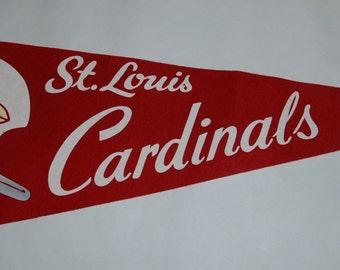 Genuine Vintage late 1960s Souvenir Felt Pennant St Louis Cardinals Football — Free Shipping!