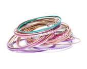 Vintage thin metal aluminum bangles, lot of 40 colorful pink, purple, turquoise, silver, pastel bangles, fashion accessories, 1990s gift