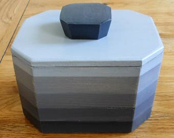 tea caddy/storage striped/grey/Home  decor/decorative grey box