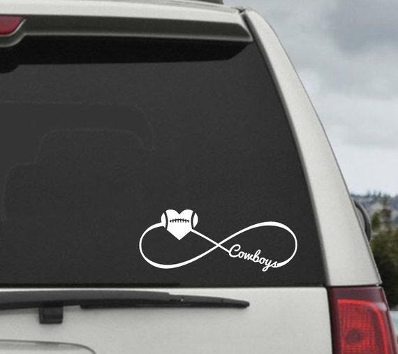 Cowboys Infinity Football Heart Decal - Car Window Decal Sticker