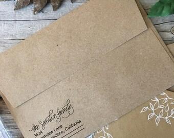 Custom Rubber Stamp Design, LEFT JUSTIFIED, Return Address, Rubber Stamp, Modern Calligraphy Wood Stamp, Hand Lettered Stamp