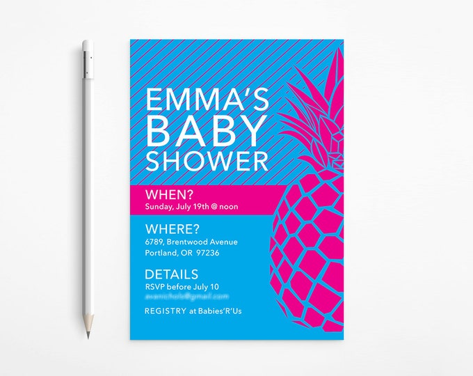 PRINTABLE - Fuschia & Blue Pineapple Baby Shower Invitation - Modern - Stripes - Pink - Turquoise - Aqua - Patterned - Free changes
