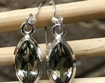 Natural 1.5ct Prasiolite Amethyst, Green Amethyst 925 Solid Sterling Silver Dangle Earrings 24mm