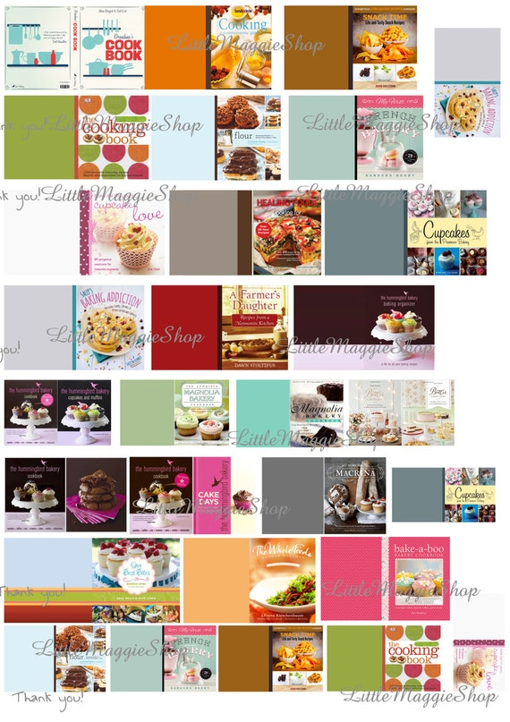 Miniature Book Cover Printables ~ Dollhouse miniature cooking book covers bakery shop diy