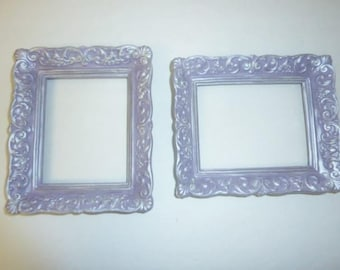 Vintage Ornate Picture Frames Set of 2 Small Lilac Lavender Pearl Finish 3.5 x 5 Resin Frame  Upcycled Girls Room Nursery
