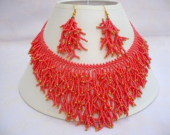 red coral inspired beadwork necklace, branch like red-gold seed bead collar necklace,  red-gold beaded statement necklace, gift for her