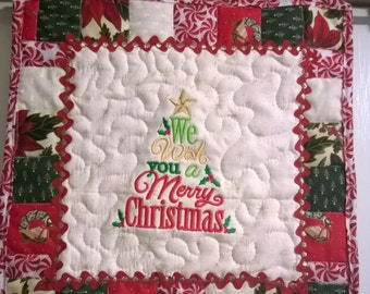 Mini quilted wall hanging - Merry Christmas