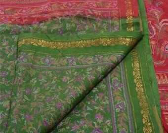 KK Indian Printed Saree Pure Silk Craft Green Fabric Zari Border Sari
