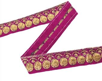 KK Indian Embroidered Prom Dress Border 1 Yd Trim Pink Craft Lace Zari Work
