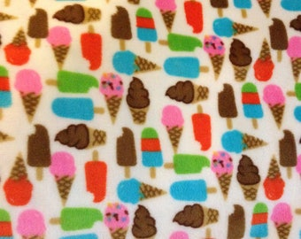 Ice cream cone minky PUL fabric