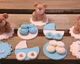 Baby Shower Themed Cupcake Toppers (Boy) - 1 Dozen