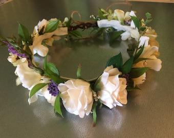 Bridal Flower Crown, Wedding, Bachlorette Flower Crown, Flower Crown