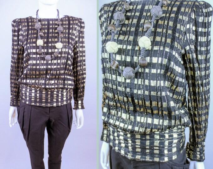 80s Rimini glam silk lame fil coupe black gold plaid blouse