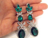 Emerald Green and Crystal Statement Earrings