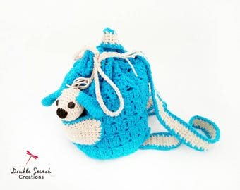 Crochet Children's Backpack  -  Backpack with Toy / Children's Toys / Crochet Toy Puppy Dog / Kids Fashion / Handmade Gift / Toy Bag /