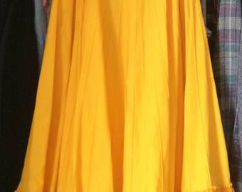 Vintage Mexican Tachi Castillo maxi long yellow skirt