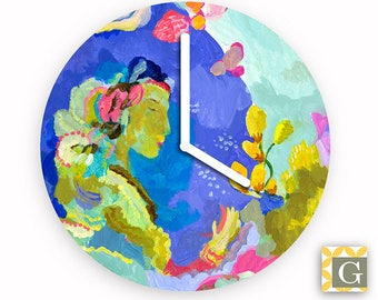 Wall Clock by GABBYClocks - Pink Moon Grande by Kimberly Hodges