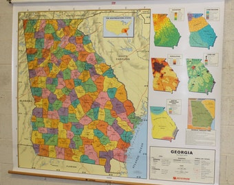 Nystrom Map of Georgia 1PS10 School Pull Down Map