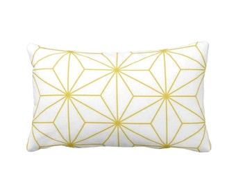 "Stars Geometric Lumbar Throw Pillow Cover, Modern Mustard & White Print 13 x 21"" Pillows/Covers, Golden/Gold Yellow"
