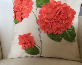 Outdoor Pillow Cover, Hyrangea Pillow, 3D Flower Pillow, Flower Pillow, Accent Pillow, Cushion, Sham, Wedding Decor, Orange Flower Pillow