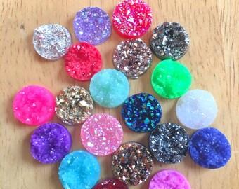 Druzy earring Kit, druzy earring kit, jewelry making kit, earring set, diy kit, diy jewelry, druzy studs, 12mm Druzy cabochon, stud earrings