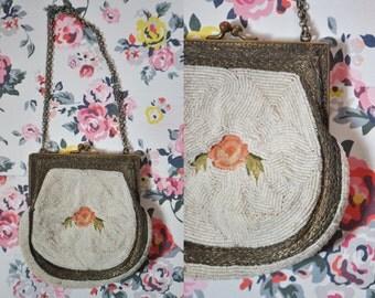 Vintage 20s White Beaded Purse Edwardian Floral Handbag Vintage Flapper Purse Roaring 20s Purse Victorian Micro Beaded Handbag Prom Clutch