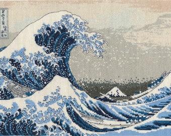 DMC BL1145/73 The British Museum Cross Stitch Kit - The Great Wave - Katsushika Hokusai